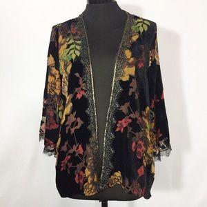 W5 Kimono Floral Fall Color Burnout Velvet XL